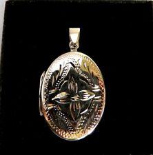 "1"" Sterling Silver engraved Flower Oval Photo Locket Charm Pendant keepsake Gift"