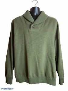 Tommy Hilfiger Army Green Shawl Neck Sweater Mens Large