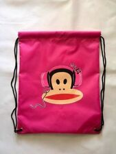 PAUL FRANK - JULIUS MONKEY HEADPHONES NYLON DRAWSTRING GYM/BOOT BAG - PINK