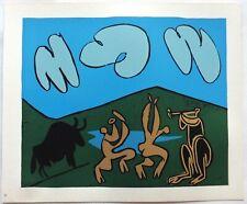 Pablo PICASSO LINOGRAVURE 1962 cercle d'art Bacchanale au taureau noir PI32