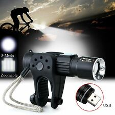 1000LM CREE Q5 LED USB Zoom Camping Flashlight W/Bike Bicycle Torch Mount Holder