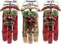3 Sled Sleigh Christmas Tree Ornaments Holiday Rustic Decoration Set Lot Vtg