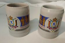 Two Vintage German 0.5L Beer stein From 1972 Olympics In Munich- Lowenbrau