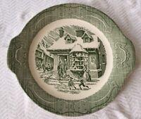 "VINTAGE ROYAL GREEN SERVING PLATE  The Old Curiosity Shop 11.5"" w/ handles"