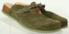 Think 89344 Olive Beaded Comfort Flat Slip On Mules Women's US 6.5 EUR 37