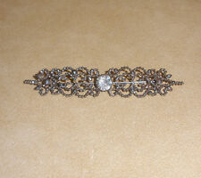 1920's Cut Steel Bar Pin w/ Rhinestone Accent in the Center