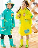 Kids Raincoat With School Bags Boys Girls Rain Covers Outwear Waterproof Jackets