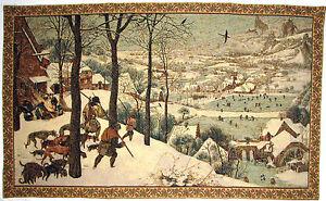 "HUNTERS IN WINTER BY J P BREUGHEL 44"" X 27"" BELGIAN TAPESTRY WALL HANGING, LINED"