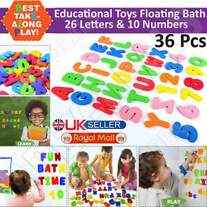 36pcs Bath Numbers Letters Foam Set Baby Kids Water Toy Child Sticker 123 ABC UK