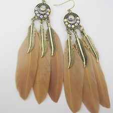 Bohemian tassel earring Dangling Charm Multi Feather crystal fashion jewelry