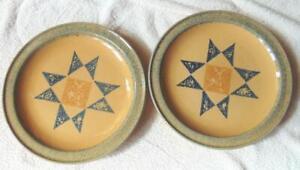 """Set of Pfaltzgraff America 10 3/8"""" Dinner Plates Star Spongewear EUC"""
