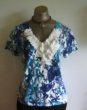 Cable & Gauge Size L Petites Blue & White Frilled Front Short Sleeve Summer Top