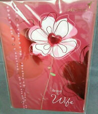 Papyrus Valentine's Day Greeting Card Heart Flowers Wife