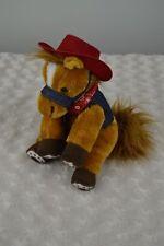 Aurora Horse Pony Plush Stuffed Animal Red Cowboy Hat Bandana Blue Denim Vest