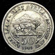 1949 EAST AFRICA ,KENYA UGANDA  50 CENTS , LION AND MOUNTAINS COIN. KM#30