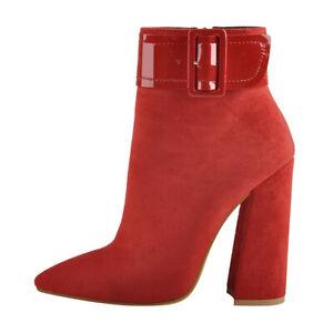 Onlymaker Womens Red Winter Boots Side Zipper Block Chanky High Heel Club US15