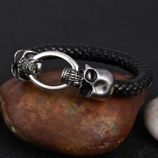 Men's Black Leather Stainless Steel Bracelet Skull Head Clasp Jewellery Gift UK