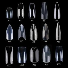 500pcs Fake Nail Tips Clear Natural Nails Tips Full Cover False Acrylic Press On