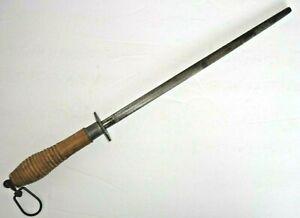 """LEE'S 17.5"""" Knife Sharpening Steel Honing Rod Wood Beehive Handle Original Hook"""