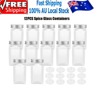 12x Clear Square Glass Jars Lid Spice Herb Seasoning Condiment Storage Container