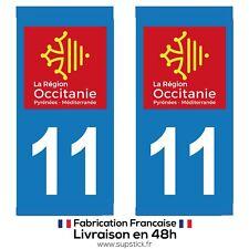 2 STICKERS AUTOCOLLANT PLAQUE IMMATRICULATION DEPARTEMENT 11 REGION OCCITANIE