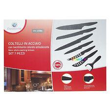 SET 7 PZ COLTELLI IN ACCIAIO ANTIADERENTE PELAPATATE CERAMICA PANE CARNE PIZZA