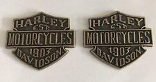 RARE SET BRASS 1903 HARLEY-DAVIDSON MOTORCYCLES EMBLEMS/MEDALLIONS TANK BODY