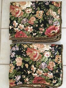 NEW Waverly Set of 2 Standard Size Black Floral Pillow Shams USA