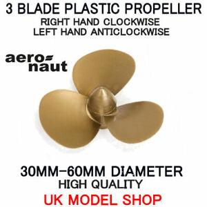Model Boat 3 Blade Plastic Propeller M4 Right Hand, Left Hand 30mm-60mm Aeronaut