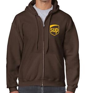 SUP Zip Brown Hoodie Hooded Sweatshirt
