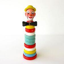 Ancien jouet d'éveil en bois - Clown - Jouet à empiler - Formes anneaux