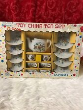 VINTAGE Straco TOY CHINA TEA SET 16 Pc Pot Dishes Cups w/ Box