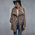 UOOZEE Women Leopard Print Tops Faux Fur Long Sleeve Jacket Coat Winter Outwear