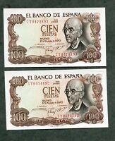 lote  2 BILLETES  CORRELATIVOS 100 PESETAS 1970   SC LOS 2  DE LA FOTO pareja