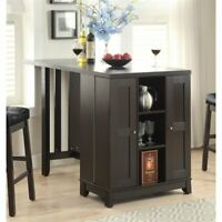Counter Height Table with Built-In Bar Cabinet, Cappuccino Finish