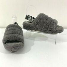 UGG Fluff Yea Slides Size 10 Charcoal Sheepskin Sling Back Sandals 1095119
