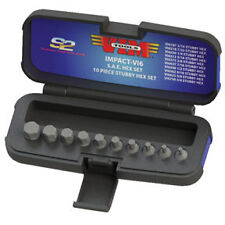 VIM TOOLS IMPACT-VI6 - Half Cut Stubby SAE Hex Set 3/8' Square Drive 10 Pc