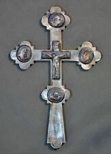 Antique 19 century Russian Rostov Enamel Blessing Reliquary Cross Icon Crucifix