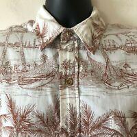 HRH His Royal Highness Vintage Hawaiian Shirt Reverse Print Men's Small S Flaw