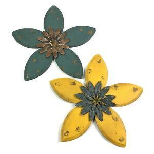 Wood Metal Floral Wall Art Set of 2 Distressed Yellow Blue Flowers 14.5 Inches