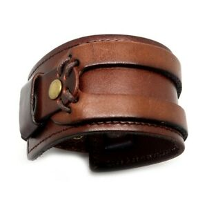 BR0069 Bracelet De Force Homme Cuir Véritable Marron Ajustable Rivet Métal Acier