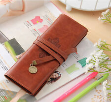 Twilight Moon Vintage Roll Leather Pencil Case Make up higo1 Cosmetic Bag Pouch