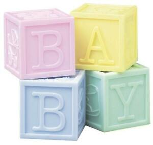 Ornament Baby Building Blocks Cake Topper Decoration Baby Shower Christening