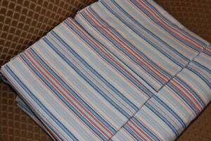 Ralph Lauren Blue White & Red Striped KING sized 4 piece sheet set Oxford Cotton