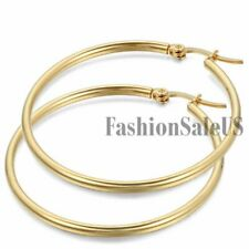 Round Circle Dangle Hoop Fashion Earrings Women's Gold Tone Stainless Steel Big