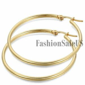 Women's Gold Tone Stainless Steel Big Round Circle Dangle Hoop Fashion Earrings