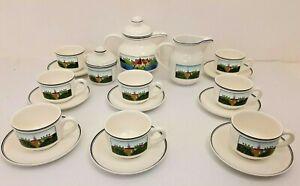 Villeroy Boch Design Naif Tea Set 8 Cups, Saucers, Tea Pot, Milk Jug, Sugar Pot