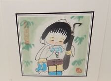 JAPANESE GIRL WITH UMBRELLA SMALL ORIGINAL WATERCOLOR PAINTING SIGNED