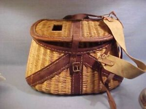 Vintage Leather & Wicker Split Willow Fly Fishing Creel Bamboo