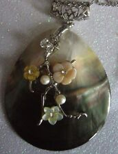MOP large pendant with st/st  chain  japanese floral decoration and large bail